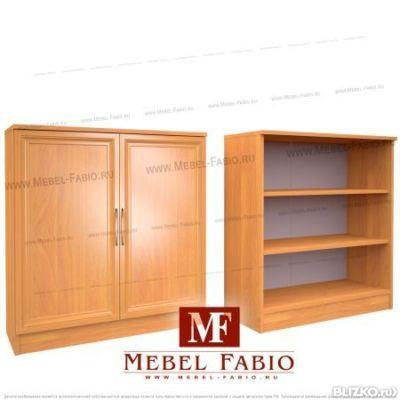 Комод-шкаф библиотека шк-10 fabio - со стеклом - цвет орех о.