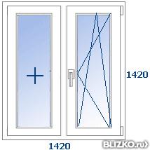 Двухстворчатое окно krauss bau 58 мм 1200*1500 мм мультифунк.
