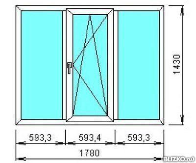 Окно пластиковое_1450х1420 двухстворчатое от компании оконни.