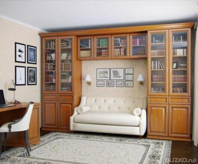 Библиотека из мдф с фрезеровкой в пленке от компании мебельс.
