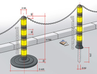 Парковочный столбик (резиновый, переносной) 90*780